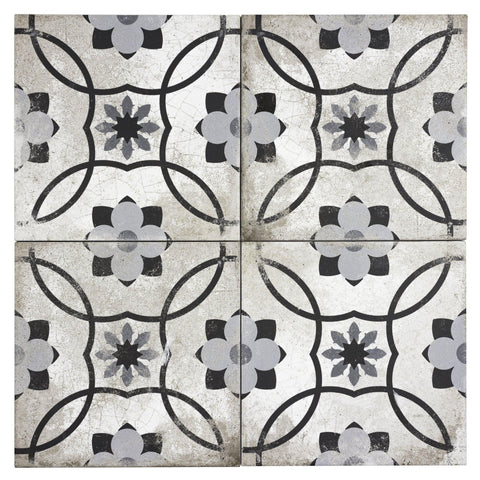 MTO0597 Classic 9X9 White Black Gray Matte Distressed Porcelain Tile - Mosaic Tile Outlet