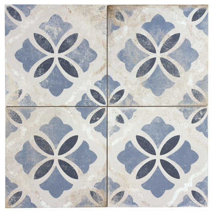 MTO0598 Classic 9X9 White Blue Matte Distressed Porcelain Tile - Mosaic Tile Outlet
