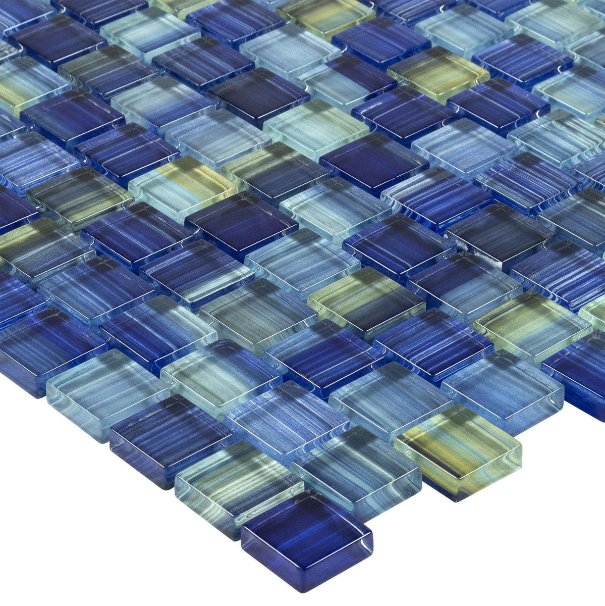 1x1 Staggered Squares Blue Yellow Glossy Glass Mosaic Tile Mto0615