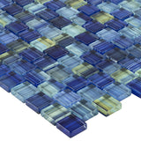 MTO0615 Modern 1X1 Staggered Squares Blue Yellow Glossy Glass Mosaic Tile - Mosaic Tile Outlet