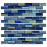 MTO0616 Modern 1X2 Staggered Brick Blue Yellow Glossy Glass Mosaic Tile - Mosaic Tile Outlet