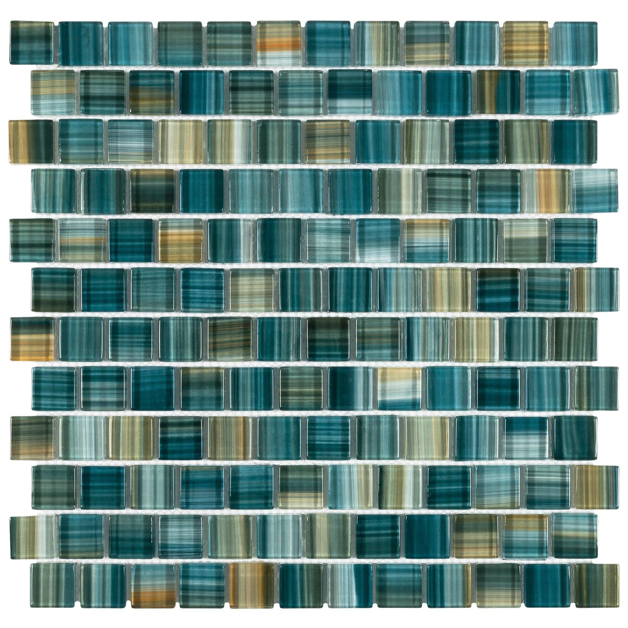 Mto0617 Modern 1x1 Staggered Squares Green Blue Glossy Glass Mosaic Ti