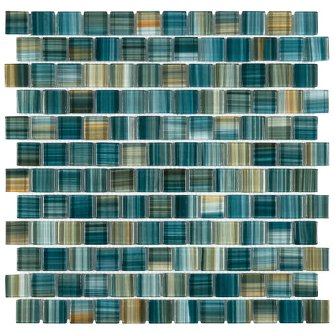 MTO0617 Modern 1X1 Staggered Squares Green-Blue Glossy Glass Mosaic Tile