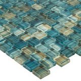 MTO0617 Modern 1X1 Staggered Squares Green-Blue Glossy Glass Mosaic Tile - Mosaic Tile Outlet