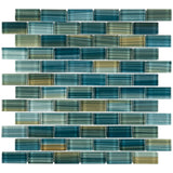 MTO0618 Modern 1X2 Staggered Brick Green-Blue Glossy Glass Mosaic Tile - Mosaic Tile Outlet