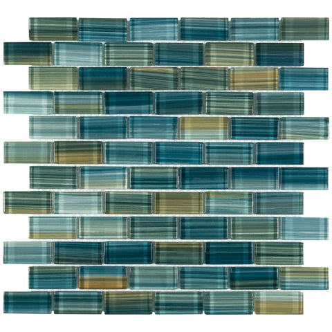 MTO0618 Modern 1X2 Staggered Brick Green-Blue Glossy Glass Mosaic Tile