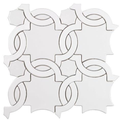 MTO0629 Classic Cross Pattern White Glossy Ceramic Mosaic Tile