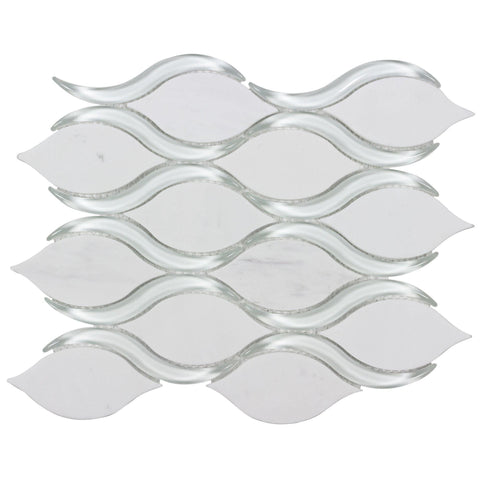 MTO0631 Modern Wavy White Glass and Thassos Marble Mosaic Tile