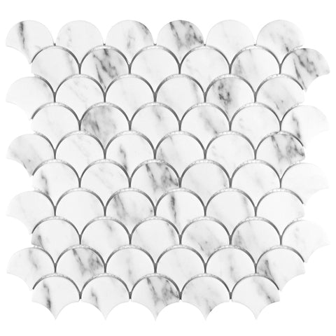 MTO0635 Modern 2x2 Scallop Fan Carrara Marble Look Recycled Glass Mosaic Tile
