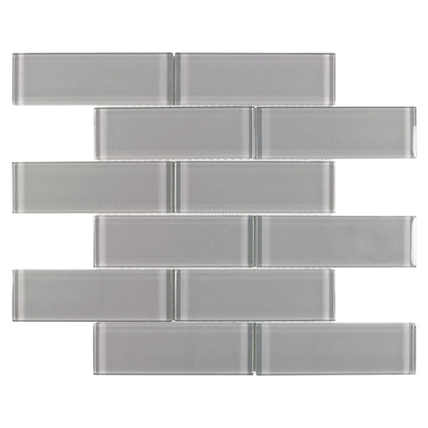 MTO0644 Modern 2X6 Gray Translucent Subway Glossy Glass Mosaic Tile