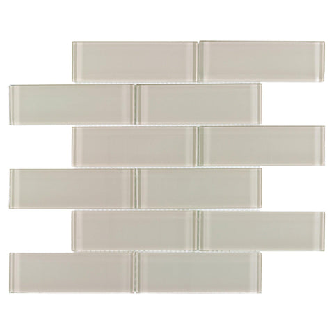 MTO0647 Modern 2X6 Beige Translucent Subway Glossy Glass Mosaic Tile