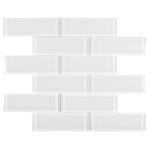 MTO0650 Modern 2X6 White Translucent Subway Glossy Glass Mosaic Tile