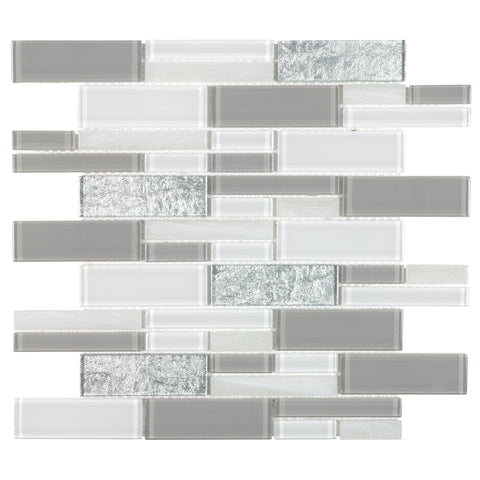 MTO0653 Modern Linear Gray White Foil Pearlized Glass Mosaic Tile
