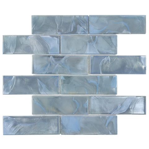 MTO0654 Modern 2X6 Blue Swirl Iridescent Subway Glass Mosaic Tile