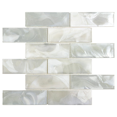 MTO0655 Modern 2X6 White Pearl Iridescent Subway Glass Mosaic Tile