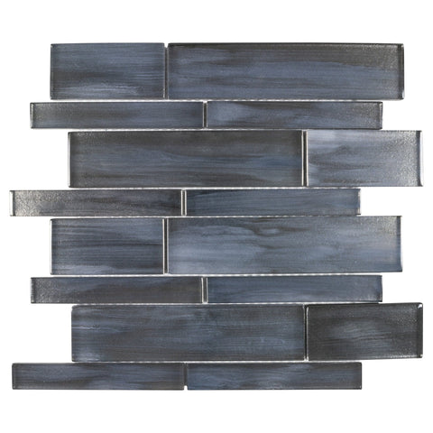 MTO0656 Modern Linear Handpainted Black Blue Glass Mosaic Tile