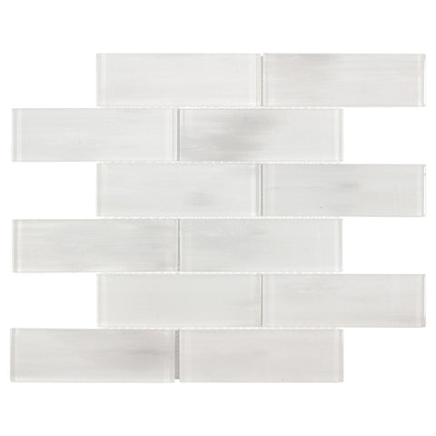 MTO0658 Modern Handpainted 2X6 White Subway Glass Mosaic Tile