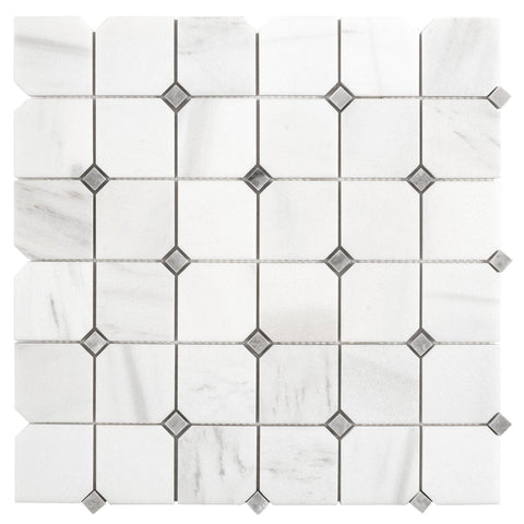 MTO0663 Classic 2X2 Square With Diamond Natural White Gray Marble Mosaic Tile
