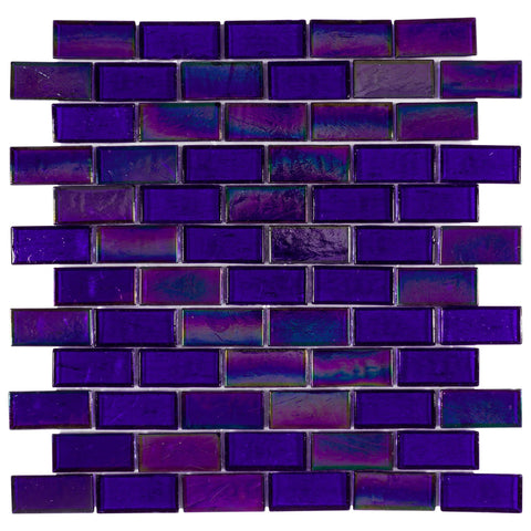 MTO0678 Classic 1X2 Blue Recycled Glass Iridescent Glossy Sateggered Brick Mosaic Tile