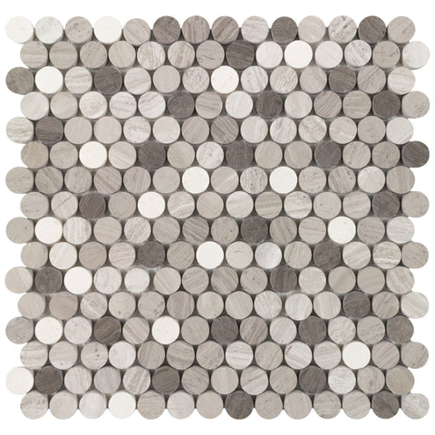 "MTO0687 Classic 3/4"" Penny Round Gray Beige Wooden White and Athens Gray Honed Stone Mosaic Tile"