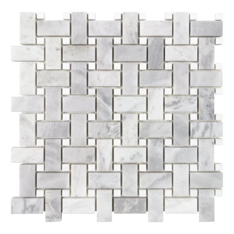 MTO0695 Classic 1X2 Basketweave White Gray Argento Dolomiti Honed Stone Mosaic Tile