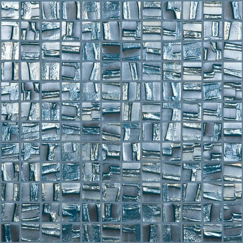 MTOD0001 Modern 1X1 Squares Blue Iridescent Metallic Look Glass Mosaic Tile