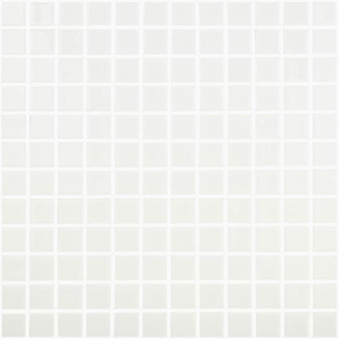 MTOD0026 Classic 1X1 Stacked Squares White Glossy Glass Mosaic Tile - Mosaic Tile Outlet