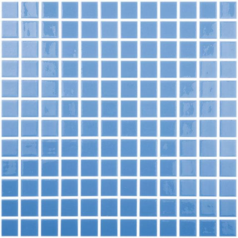 MTOD0027 Classic 1X1 Stacked Squares Light Blue Glossy Glass Mosaic Tile - Mosaic Tile Outlet