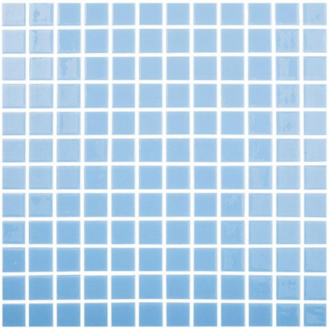 MTOD0028 Classic 1X1 Stacked Squares Sky Blue Glossy Glass Mosaic Tile - Mosaic Tile Outlet