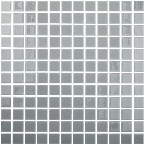 MTOD0029 Classic 1X1 Stacked Squares Gray Glossy Glass Mosaic Tile - Mosaic Tile Outlet