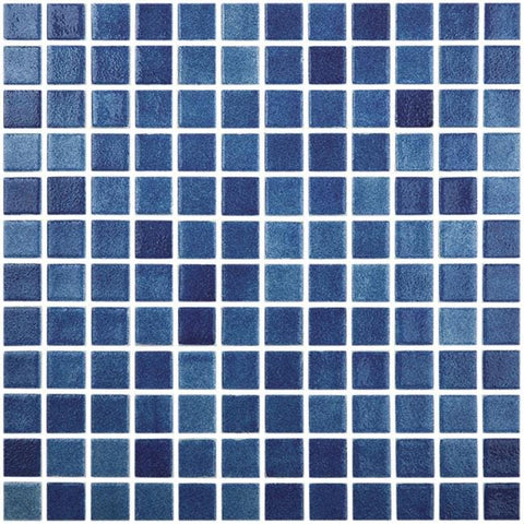 MTOD0034 Classic 1X1 Stacked Squares Blue Glossy Glass Mosaic Tile - Mosaic Tile Outlet