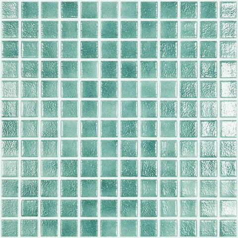 MTOD0039 Classic 1X1 Stacked Squares Sea Green Glossy Glass Mosaic Tile - Mosaic Tile Outlet