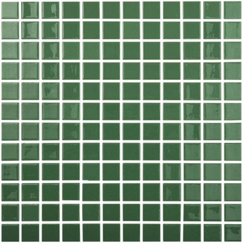MTOD0041 Classic 1X1 Stacked Squares Dark Green Glossy Glass Mosaic Tile - Mosaic Tile Outlet