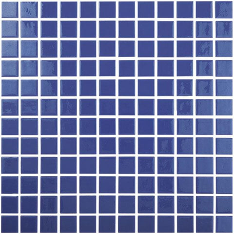 MTOD0043 Classic 1X1 Stacked Squares Blue Glossy Glass Mosaic Tile - Mosaic Tile Outlet