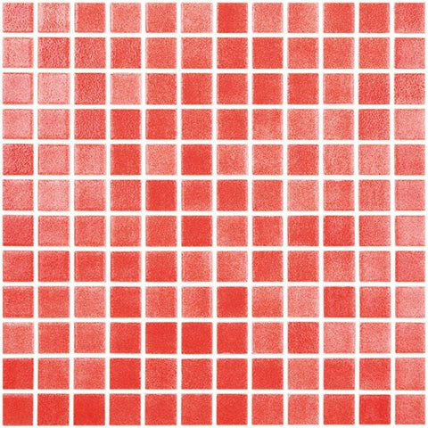 MTOD0044 Classic 1X1 Stacked Squares Red Glossy Glass Mosaic Tile - Mosaic Tile Outlet