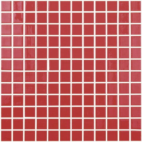 MTOD0045 Classic 1X1 Stacked Squares Red Glossy Glass Mosaic Tile - Mosaic Tile Outlet