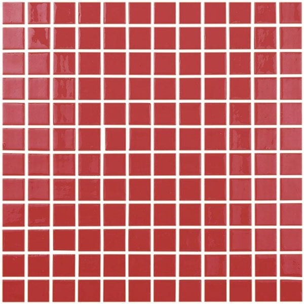 1x1 Stacked Squares Mosaic Gloss Red Glass Tile Mtod0045