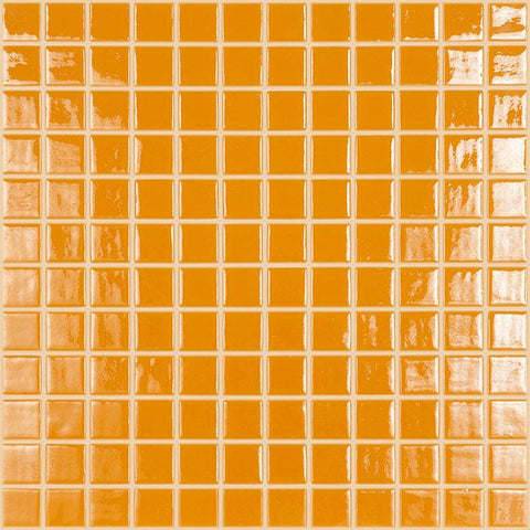MTOD0046 Classic 1X1 Stacked Squares Orange Glossy Glass Mosaic Tile - Mosaic Tile Outlet