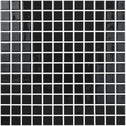 MTOD0048 Classic 1X1 Stacked Squares Black Glossy Glass Mosaic Tile - Mosaic Tile Outlet
