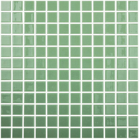 MTOD0054 Classic 1X1 Stacked Squares Olive Green Glossy Glass Mosaic Tile - Mosaic Tile Outlet