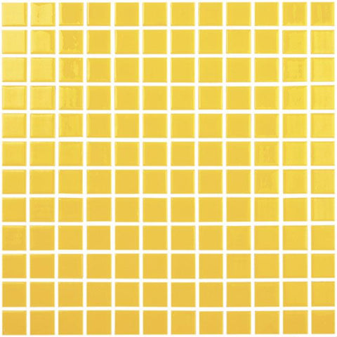 MTOD0055 Classic 1X1 Stacked Squares Yellow Glossy Glass Mosaic Tile