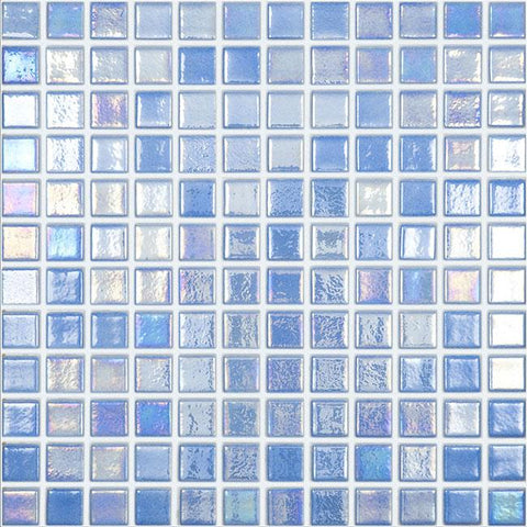 MTOD0057 Classic 1X1 Stacked Squares Iridescent Sky Blue Glossy Glass Mosaic Tile - Mosaic Tile Outlet