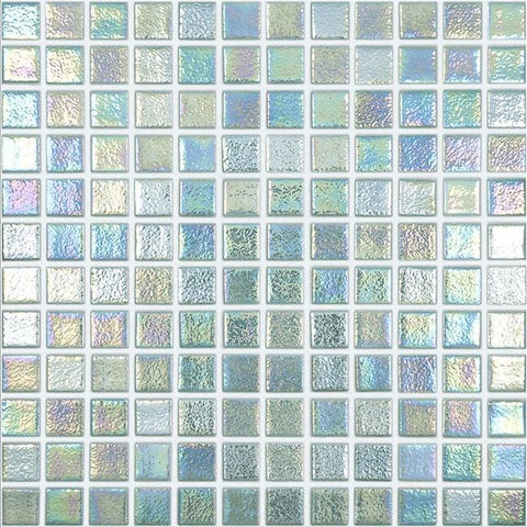 MTOD0058 Classic 1X1 Stacked Squares Iridescent Jade Green Glossy Glass Mosaic Tile - Mosaic Tile Outlet