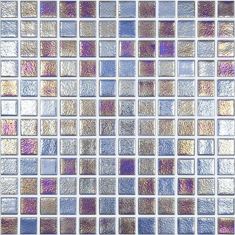 MTOD0059 Classic 1X1 Stacked Squares Iridescent Blue Glossy Glass Mosaic Tile - Mosaic Tile Outlet