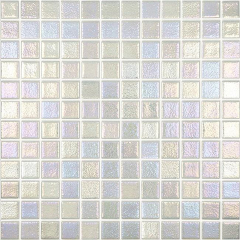 MTOD0060 Classic 1X1 Stacked Squares Iridescent Frost White Glossy Glass Mosaic Tile - Mosaic Tile Outlet