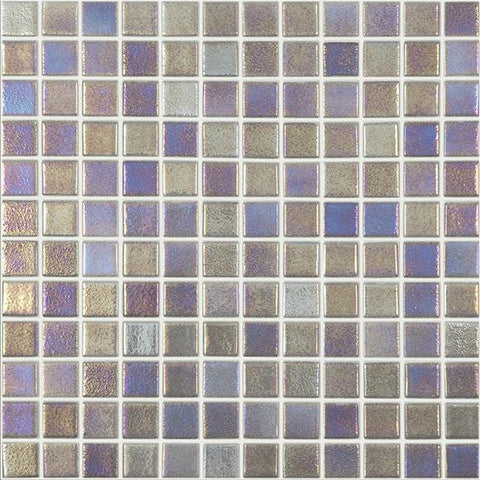 MTOD0066 Classic 1X1 Stacked Squares Iridescent Platinum Glossy Glass Mosaic Tile - Mosaic Tile Outlet