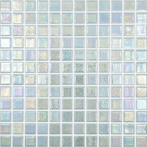 MTOD0067 Classic 1X1 Stacked Squares Iridescent White Glossy Glass Mosaic Tile - Mosaic Tile Outlet