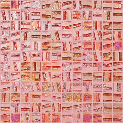 iridescent red stacked squares glossy glass mosaic tile