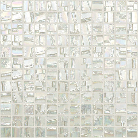 white stacked squares glossy glass mosaic tile