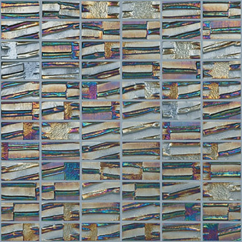 iridescent stacked rectangles glossy glass mosaic tile
